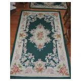 Green Floral Pattern Hook and Loop Area Rug