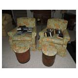 Pair of Upholstered Armchairs and Foot stools
