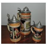Collection of 3 Vintage German Beer Steins