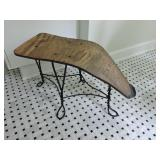 Vintage Bent Iron & Wood Shoe-Shine Bench
