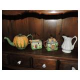 Assorted Teapots, Cream and Sugars