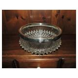 Vintage Cut Glass Bowl Silver Plated Rim