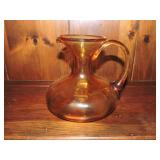 Vintage Dark Amber Glass Pitcher