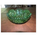 Vintage Cut Glass Green Bowl