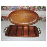 Pair of Rosewood Serving Trays & Bowl