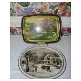 Pair of Metal Currier & Ives Trays