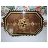 Vintage Spanish Marquetry Wood Inlaid Tray