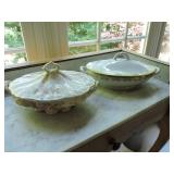 Vintage Pair of Porcelain Vegetable Dishes w/ Lids
