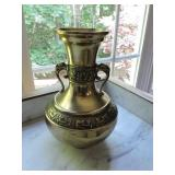 Vintage Korean Brass Vase Urn w/ Dragon Handles