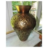 Vintage Coppertone Metal Filigree Vase