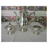 Wm Rogers Silverplated Coffee Pot, Cream/Sugar