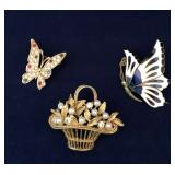 Vintage Gold Tone Brooches