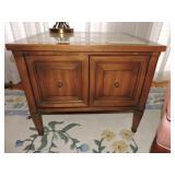 Vintage Pecan Side Table w/ Marble Top