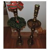 Pair of Moroccan Brass Floor Standing Candleholder