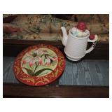 Vintage Electric Porcelain Tea Pot & Art Plate