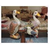 Vintage Carved Multi-Colored Geese & Small Bird