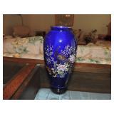 Vintage Japanese Peacock Cobalt Blue Vase
