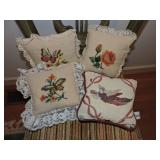 Collection of Four Needlepoint Pillows