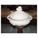 Vintage Japanese Ceramic Soup Tureen & Ladle