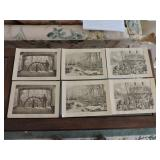 Collection of Six Steel Engravings