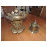 Vintage Oriental Lantern & Brass Incense Jar