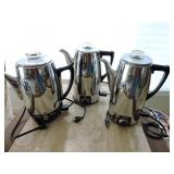 Collection of Three Vintage Coffee Percolator