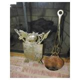 Vintage Brass Slotted Spoon & Fire Screen