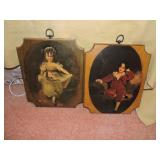 Pair of Decoupage Prints on Board