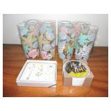 Set of Plastic Decorative Cups & Coasters
