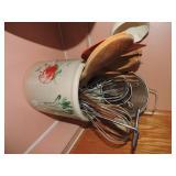 Vintage Ceramic Crock with Kitchen Utensils