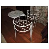 Pair of Wrought Iron Patio Planters & Table