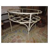 Vintage Glass Top Round Patio Side Table