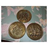 Vintage Collection of Brass Wall Plaques w/ Scenes
