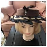 Vintage Ladies Hat - Sailor Style w/ Feathers