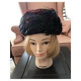 Vintage Mr. Milton Cloche Ladies Hat w/ Feathers