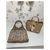 Vintage Macrame Hand Bag & Basket