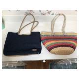 Vintage Denim & Wicker Hand Bags
