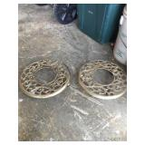 Pair of Brass Scroll Plant Stands w/ Casters