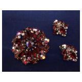 Vintage Red Rhinestone Brooch and Earrings