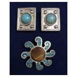 Vintage Art Micro Mosaic Pendant/Pin & Earrings