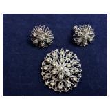 Vintage Rhinestone Snowflake Brooch and Earrings