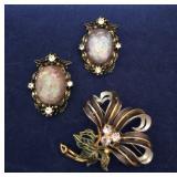 Vintage Enamel Flower Brooch & Fire Opal Earrings