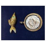 Vintage Gold Tone Fish Pendants