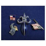 Vintage Enamel Patriotic Pins and Fleur-de-lis