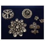 Collection of Vintage Rhinestone Brooches