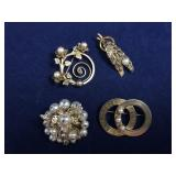Vintage Pearl Accent Brooches