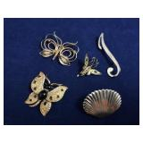 Vintage Gold Tone Shell Scarf Pin & Misc Pins