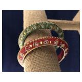 Vintage Bead Accent Bangle Bracelets