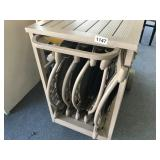 ROLLING CART WITH IRON OUTDOOR CHAIRS