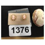 VINTAGE CAMEO BROOCH AND SARAH COVENTRY EARRINGS